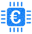 euro chip icon grunge watermark vector image vector image