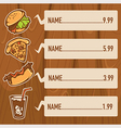 fastfood on wood background vector image