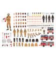 firefighter creation set or diy kit bundle of vector image vector image