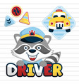 funny taxi driver cartoon with traffic signs on vector image vector image