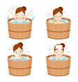Girl Relaxing In Hot Spring Bath Set vector image