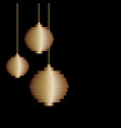 golden three pixel art christmas tree ball toy vector image