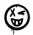 graffiti grin and wink icon face in black white vector image vector image