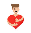 happy man hugging red heart character and heart vector image