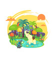 indian jungle with tall trees and exotic animals vector image vector image