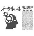 Intellect Gears Icon with 1000 Medical Business vector image