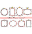 little princess frames pink cute mirrors frame vector image vector image
