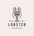 lobster line outline monoline hipster vintage vector image