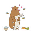 lovely cartoon bear and hare a pot of honey vector image vector image
