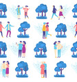 lovers people in park seamless pattern vector image vector image