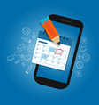 mark calendar schedule on mobile smart-phone vector image vector image