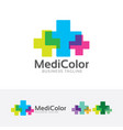 medical color logo design vector image vector image