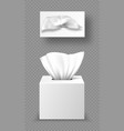 paper napkin box mockup close and open packages vector image vector image