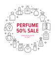 perfume bottles frame poster with line icons vector image