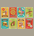 price cards for fastfood meals restaurant vector image vector image