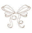 ribbon bow hand drawn sketch vector image vector image