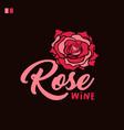 rose wine handwritten lettering vector image vector image