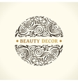 Round calligraphic emblem floral symbol vector image vector image