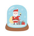santa with bell gifts snow in crystal ball snow vector image