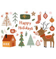 set isolated bohemian holiday elements vector image vector image