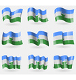Set of KabardinoBalkaria flags in the air vector image vector image