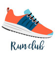 shoes with text run club vector image vector image
