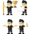 Spiky Rocker Boy Customizable Mascot 3 vector image vector image