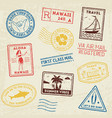 summer beach post stamps hand drawn palm trees vector image vector image