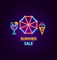 summer sale neon label vector image