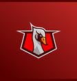 swan goose bird logo character animal design vector image