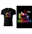 t-shirt design with colorful drink glasses vector image vector image