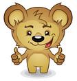 teddy bear cartoon thumbs up vector image
