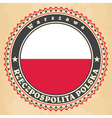Vintage label cards of Poland flag vector image