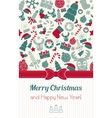 Vintage vertical christmas card Christmas icons vector image vector image