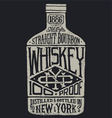 Whiskey bottle with vintage typography