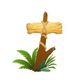 wooden sign in jungle rainforest with tropical vector image vector image