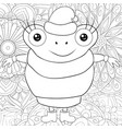 adult coloring bookpage a cute cartoon frog with vector image vector image