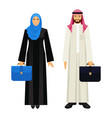 arabic businessman and businesswoman with leather vector image vector image