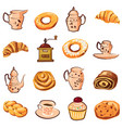 baking croissant biscuit coffee grinder teapot vector image