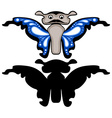 Blue butterfly with silhouette Isolated vector image vector image