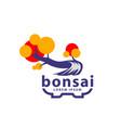 bonsai tree and pot logo concept abstract vector image vector image