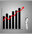 businessman looking at red graph up vector image vector image