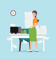 busy business woman holding office paper vector image vector image