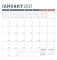 Calendar Planner Template for January 2017 Week vector image vector image