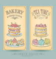 card collection pastries and tea vector image