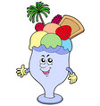 cartoon ice cream cup vector image