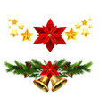 Christmas decorations with fir tree golden jingle
