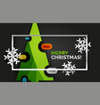 christmas tree greeting banner black background vector image vector image