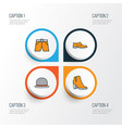 Clothes colorful outline icons set collection of