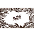 coffee leaves background in vintage style hand vector image vector image